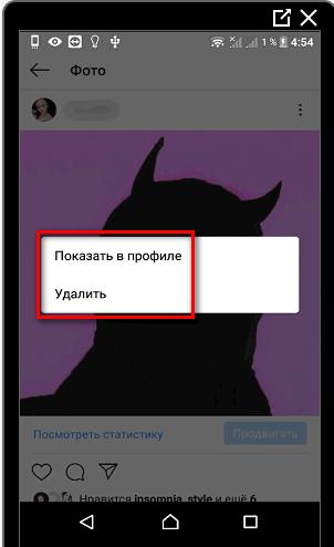 Показать пост в профиле Инстаграма