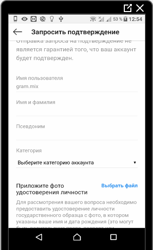 Графы для заполнения в подтверждении аккаунта Инстаграм