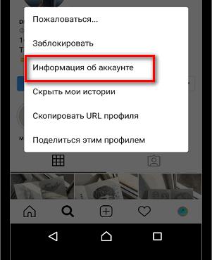 Информация об аккаунте чужая страница в Инстаграме