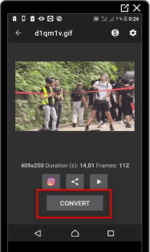 Конвертирование гифки в приложении для Инстаграма