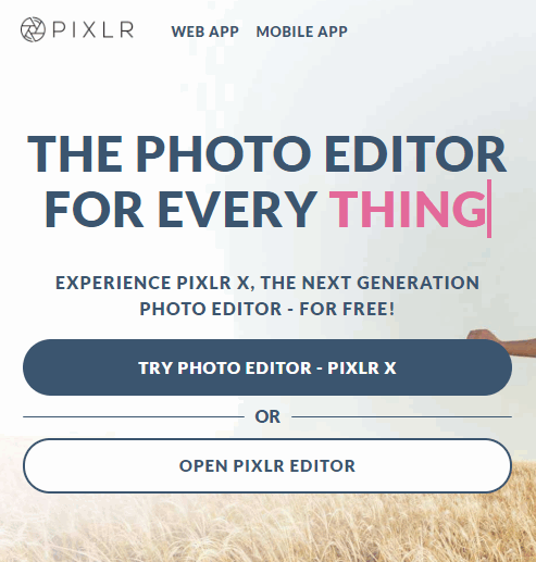 Open Pixlr Editors для Инстаграма