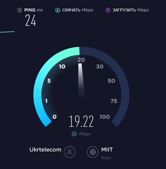 Проверить скорость Интернета через SpeedTest