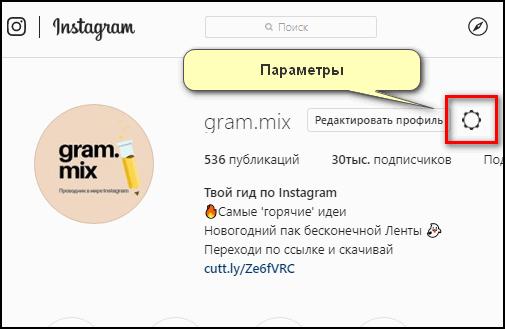 Параметры в Инстаграме с ПК
